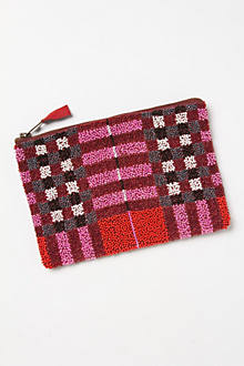 Beaded Plaid Pouch