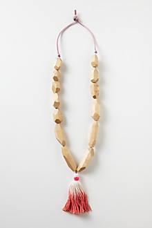 Carved Wood Tassel Necklace