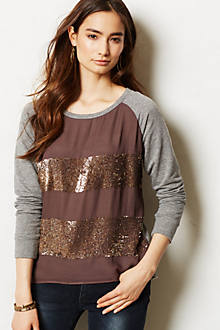 Shimmer-Ruled Pullover