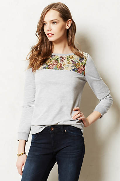Patched Brocade Sweatshirt
