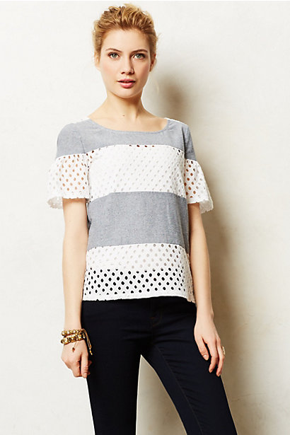 Sale alerts for Anthropologie Denimstripe Eyelet Top - Covvet