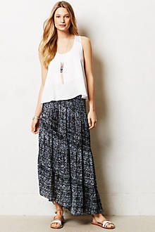 Shibori Slant Maxi Skirt