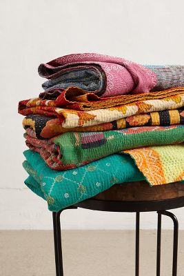 Hand-Stitched Kantha Throw