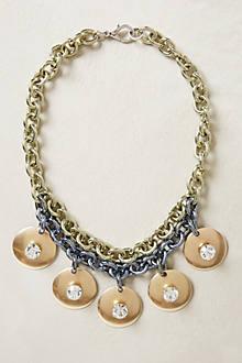 Gold Disc Bib Necklace
