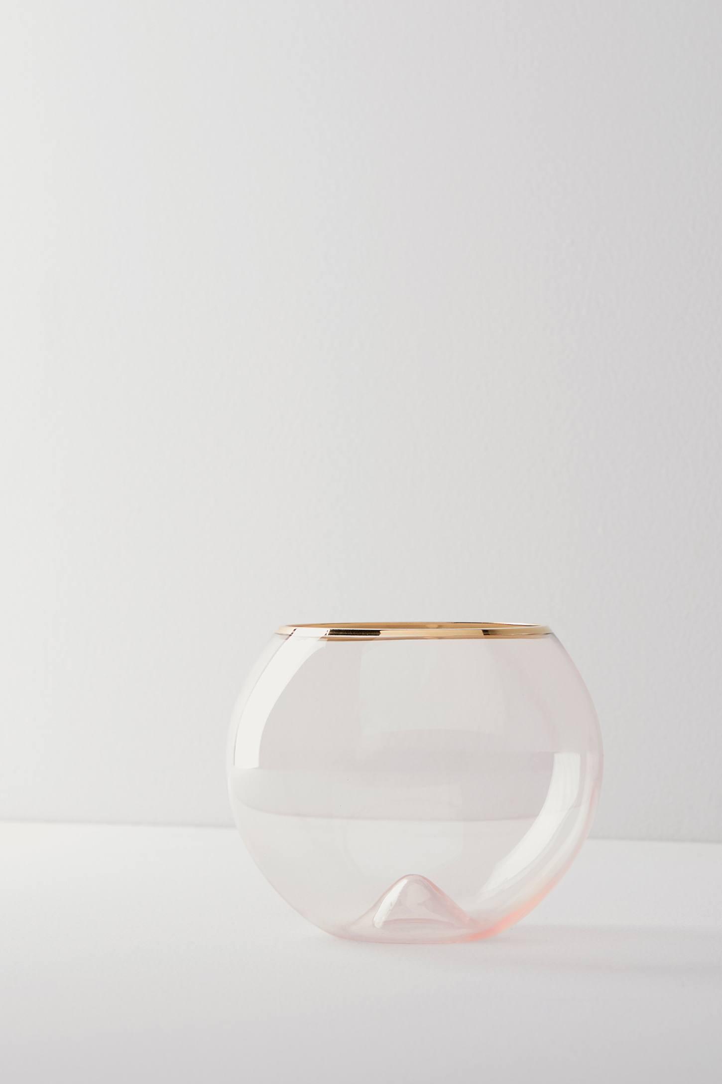 Gilded Rim Stemless Glass