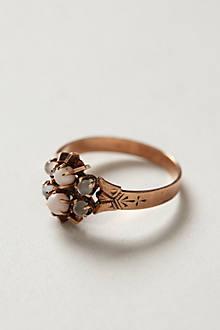 Vintage Coral & Moonstone Ring