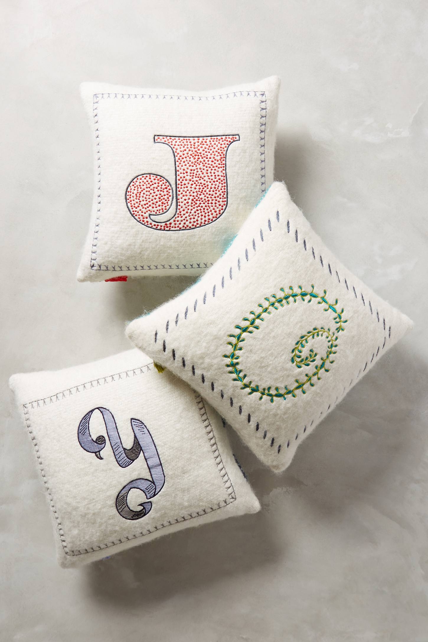 Embroidered Monogram Cushion