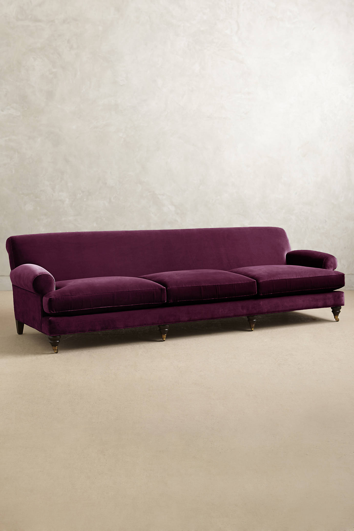 Velvet Willoughby Grand Sofa, Hickory