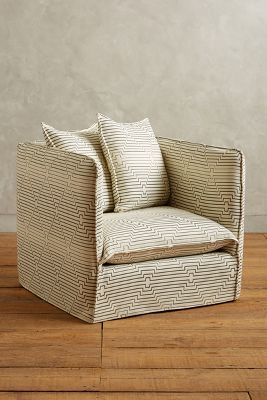 Striped Carlier Slipcover Armchair