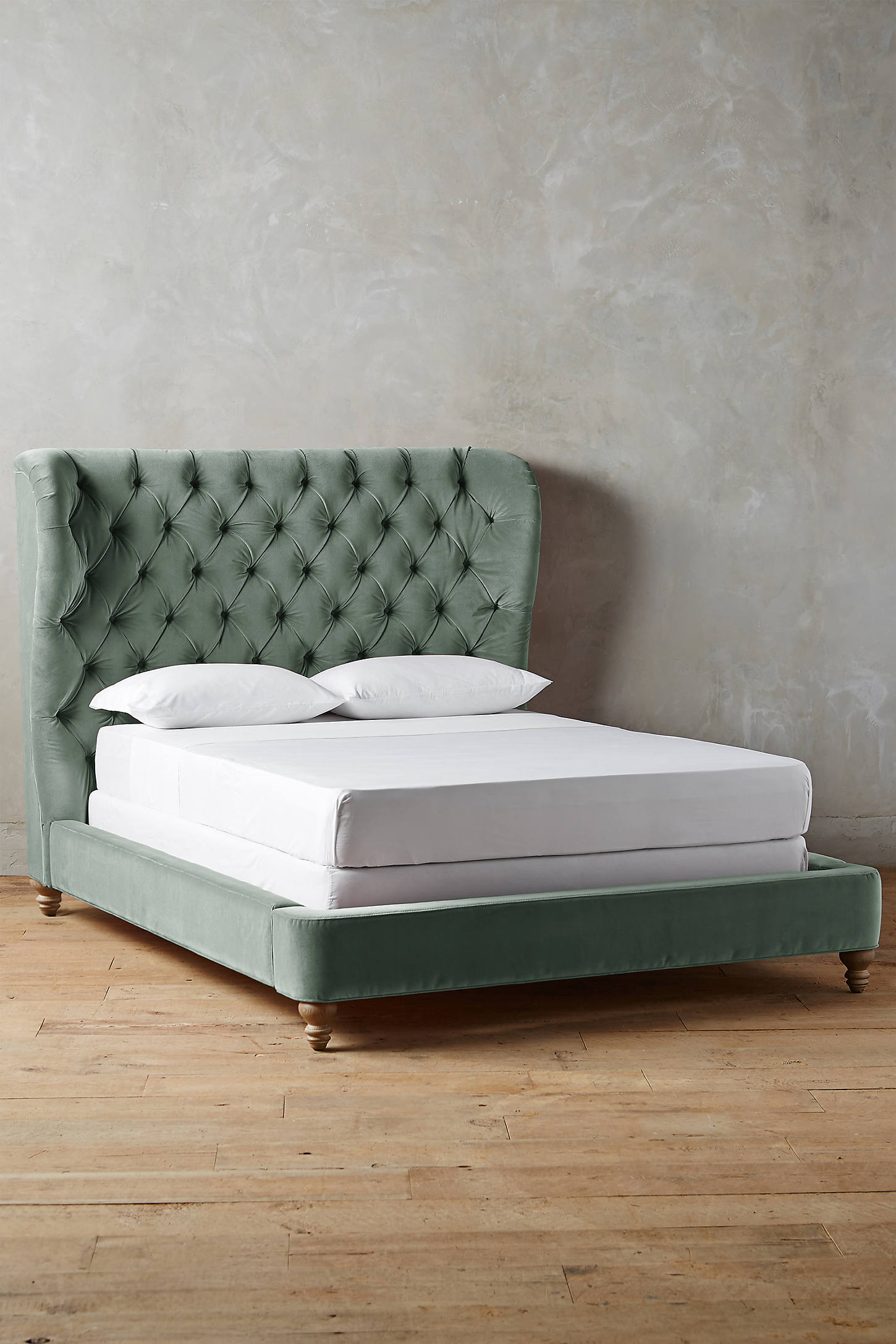 Velvet Tufted Wingback Bed