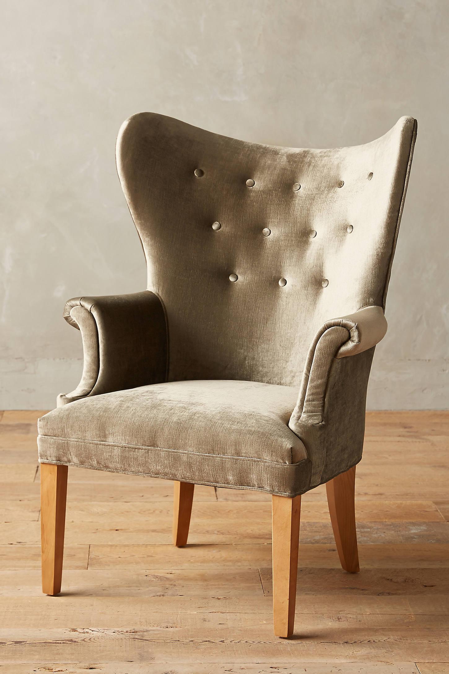 Slub Velvet Wingback Chair