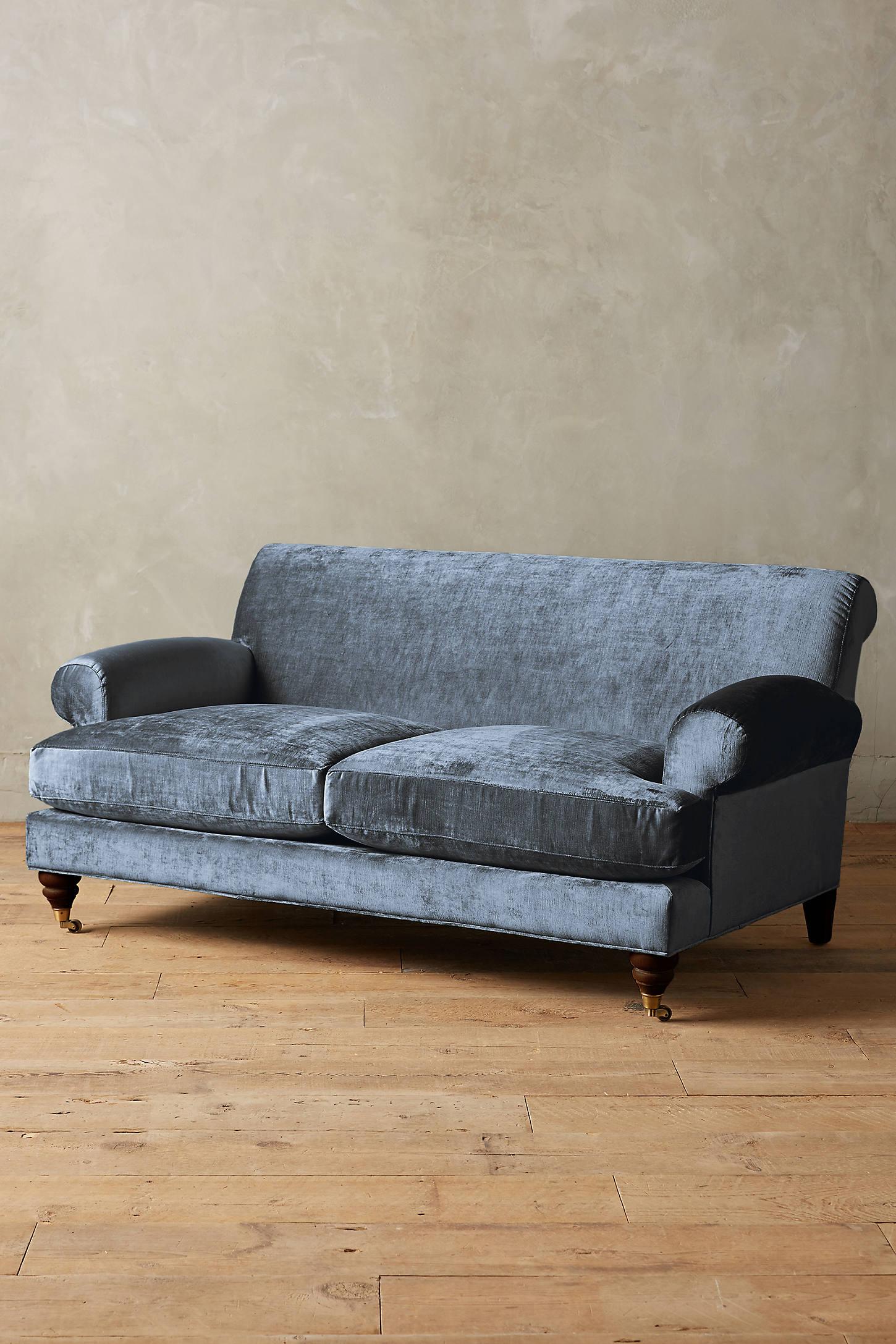 Slub Velvet Willoughby Sofa, Hickory