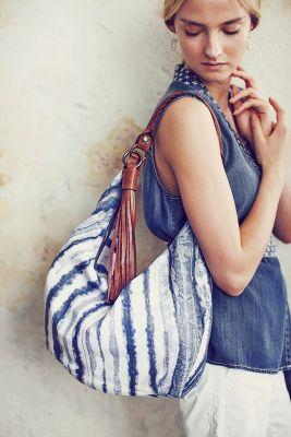 Indigo-Brushed Hobo Bag