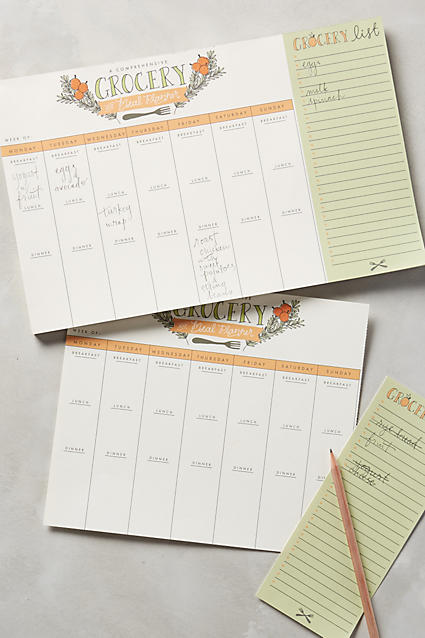 Pretty grocery and meal planner