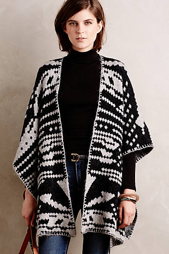 Jacquard Blanket Poncho