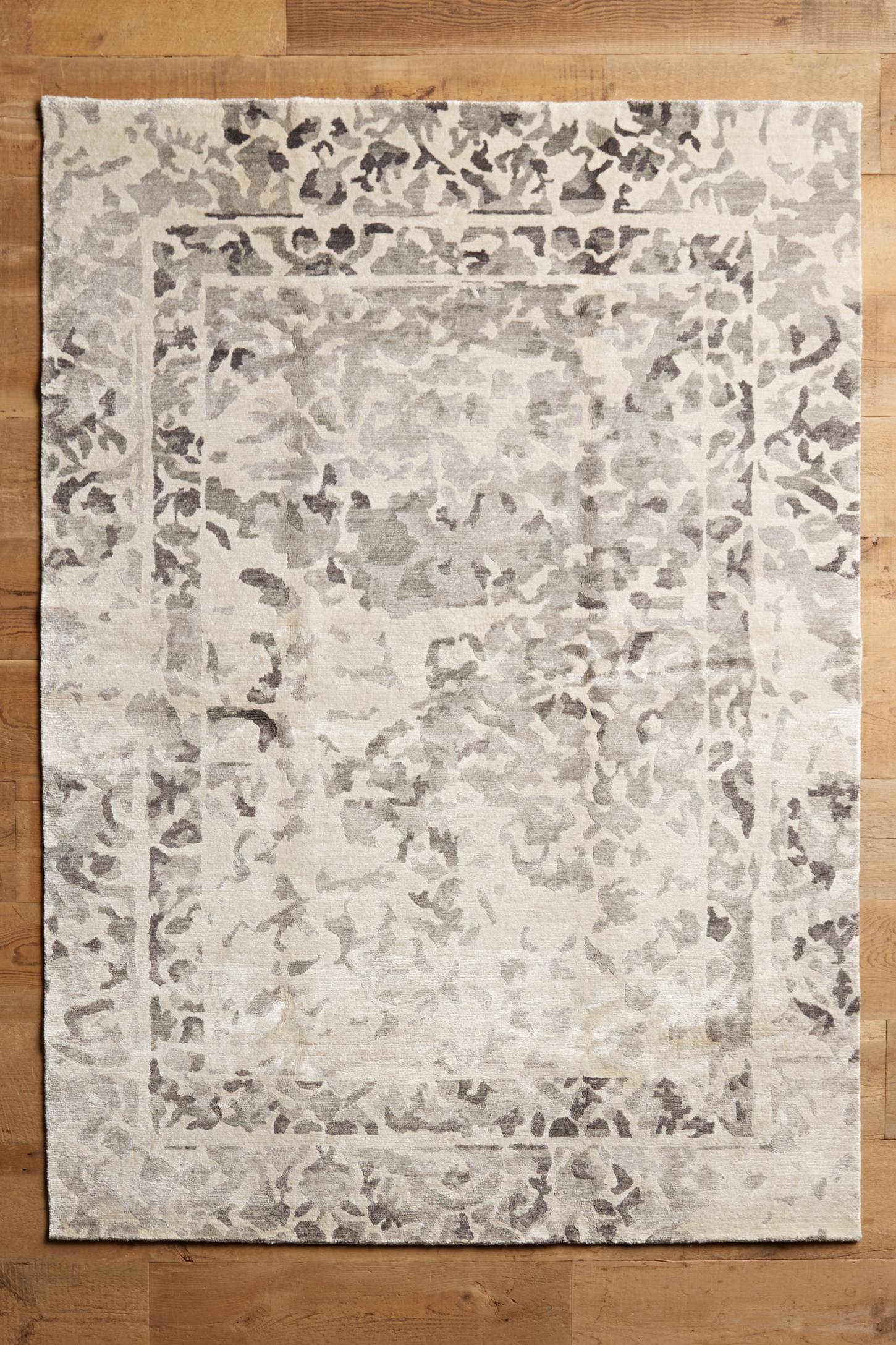 Abstracted Silk Hand-Knotted Rug