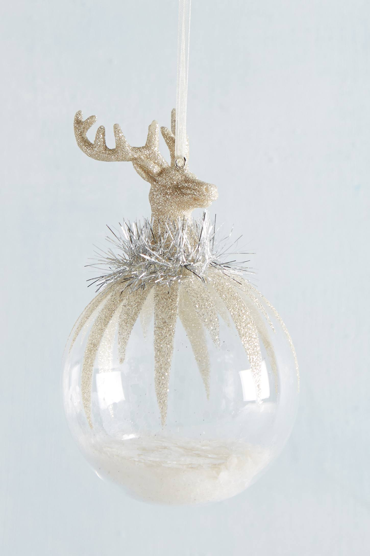 Silvered Stag Globe Ornament