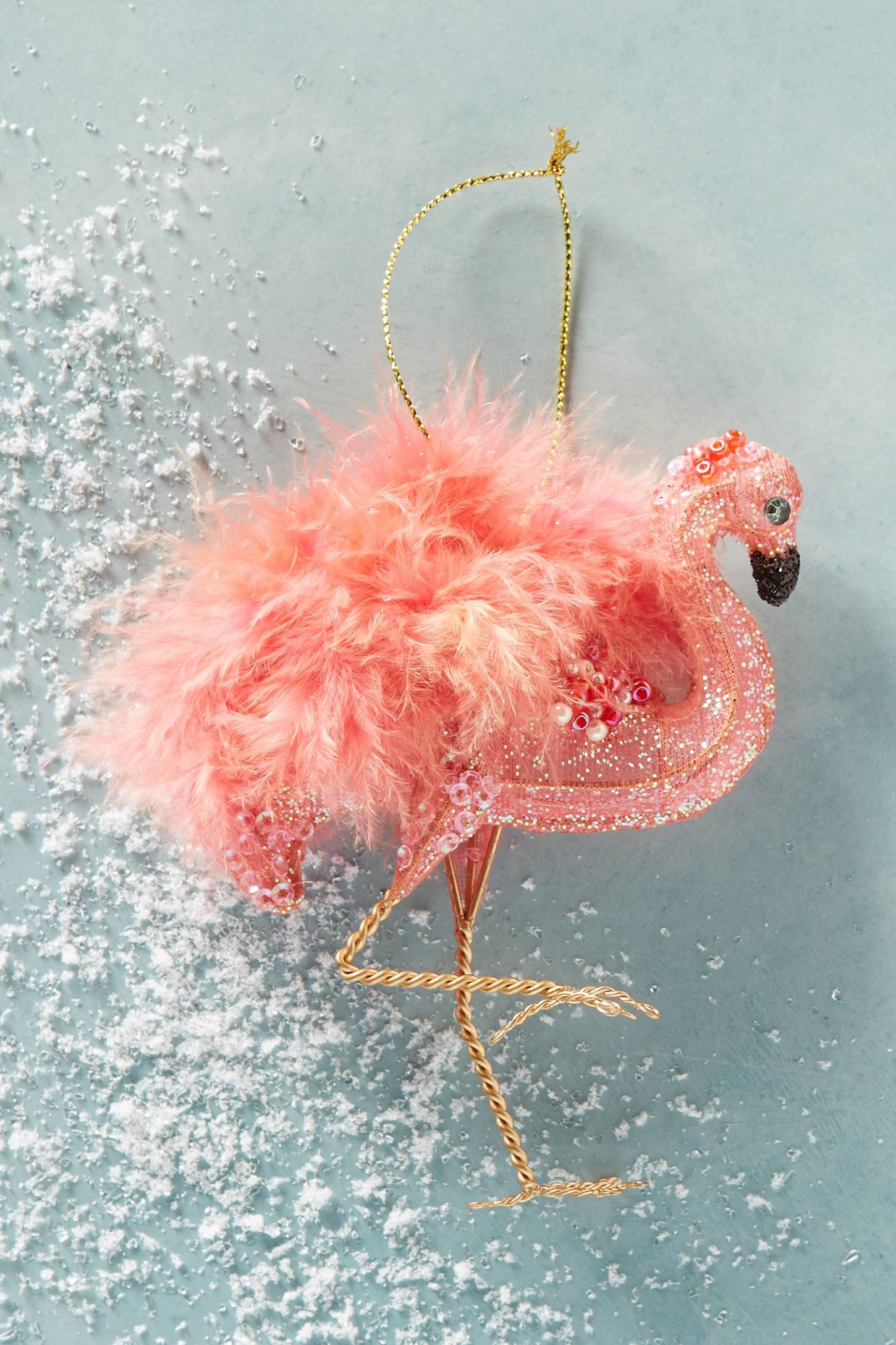 Feathered Flamingo Ornament