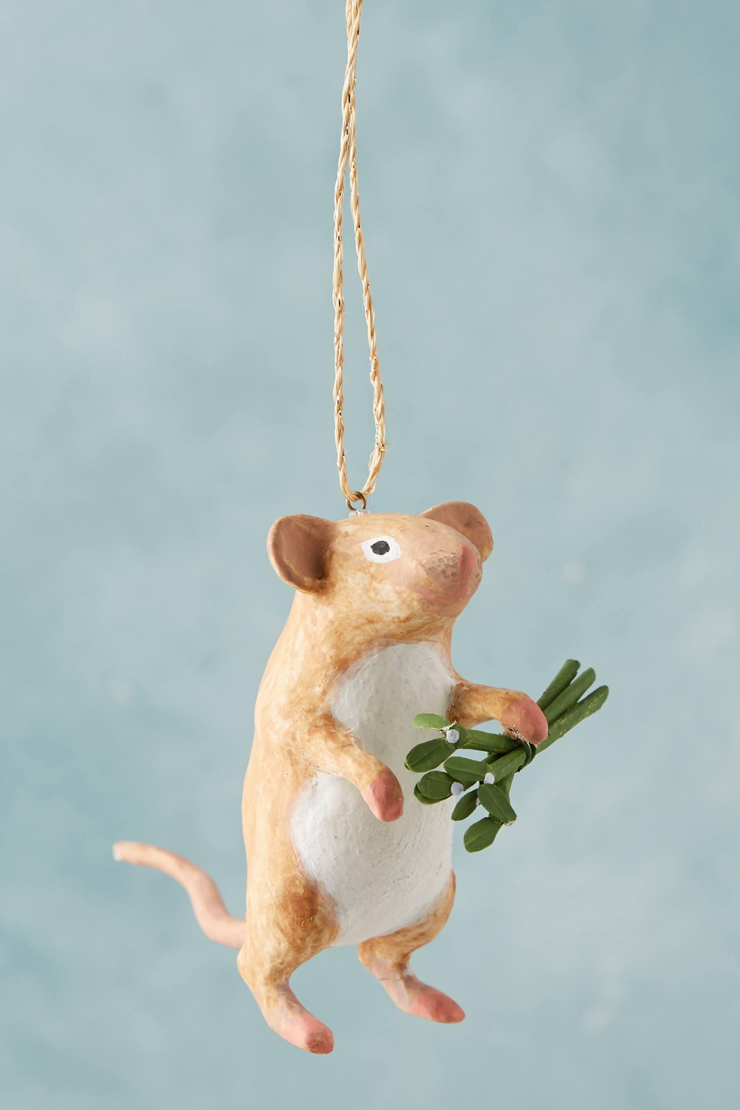 Mistletoe Mouse Ornament