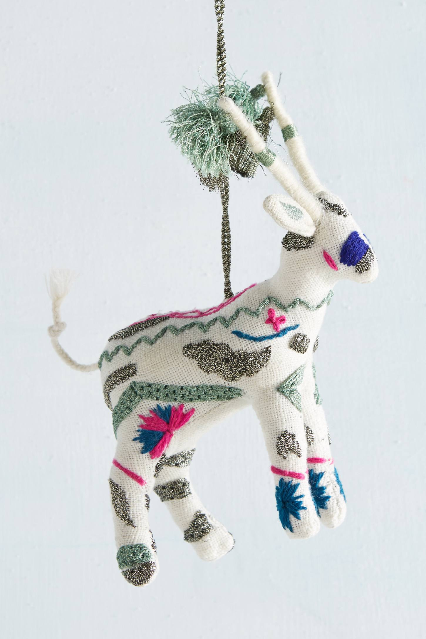 Embroidered Deer Ornament