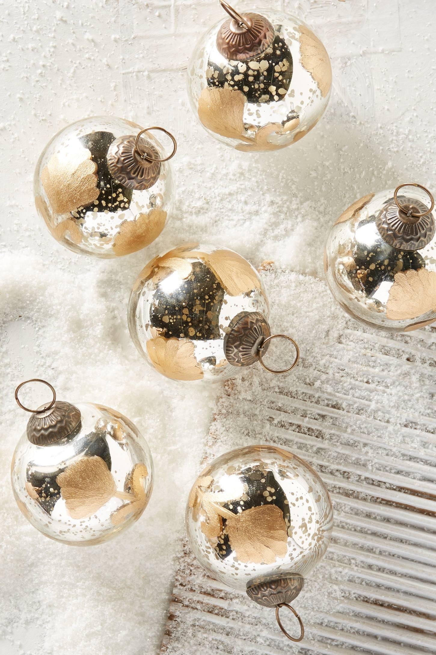 Etched Mercury Glass Ornament Set