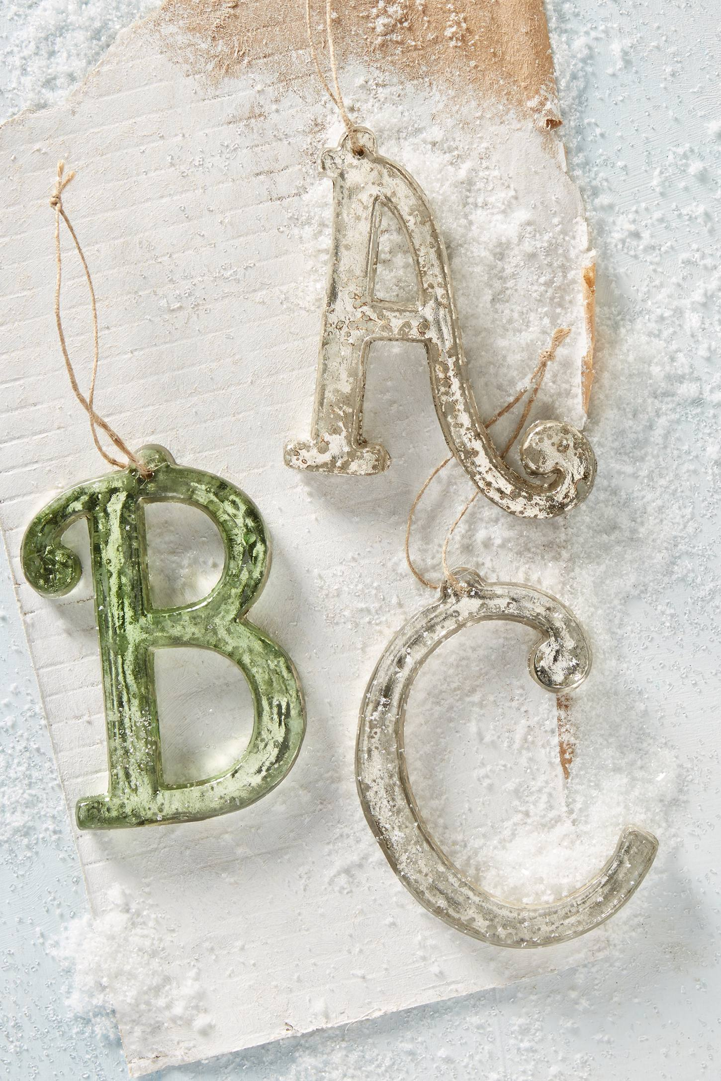 Mercury Glass Monogram Ornament