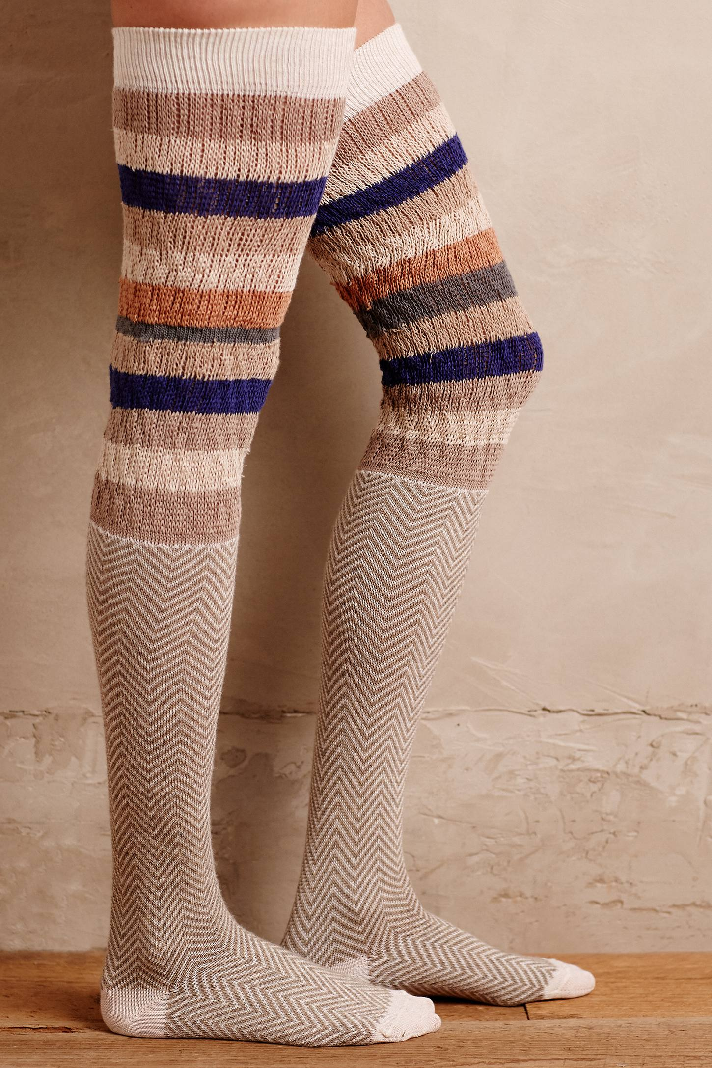 Chevron Stripe Over-The-Knee Socks