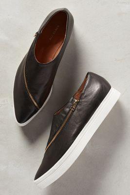 All Black Slanted Zip Sneakers