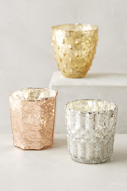 Bubble mercury glass votives