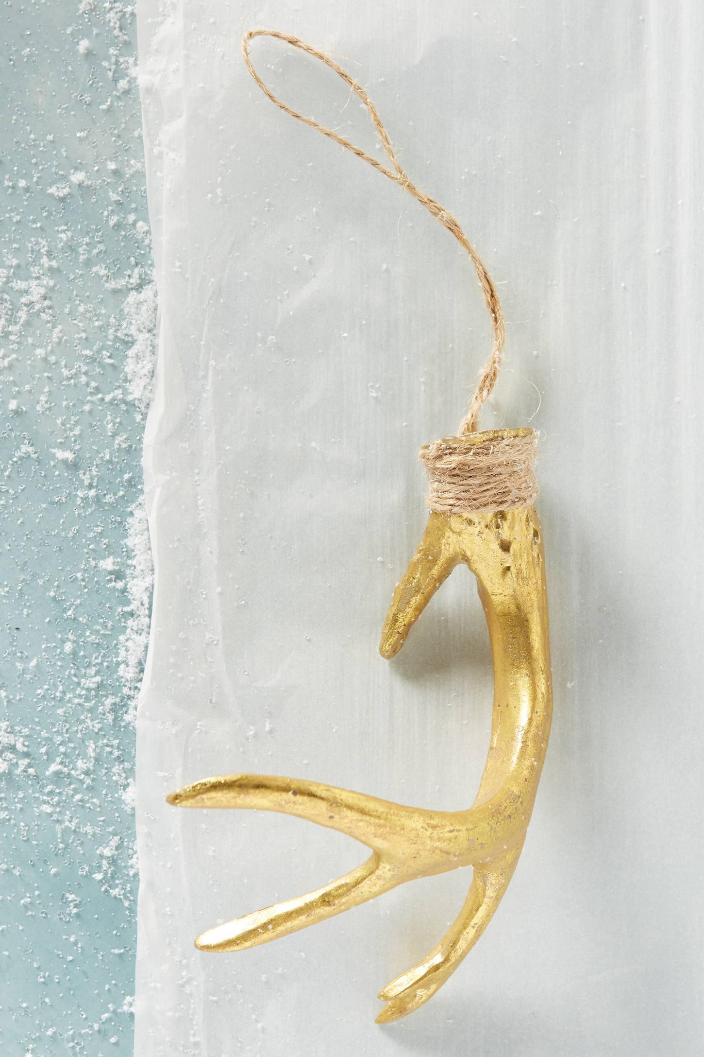 Golden Antler Ornament