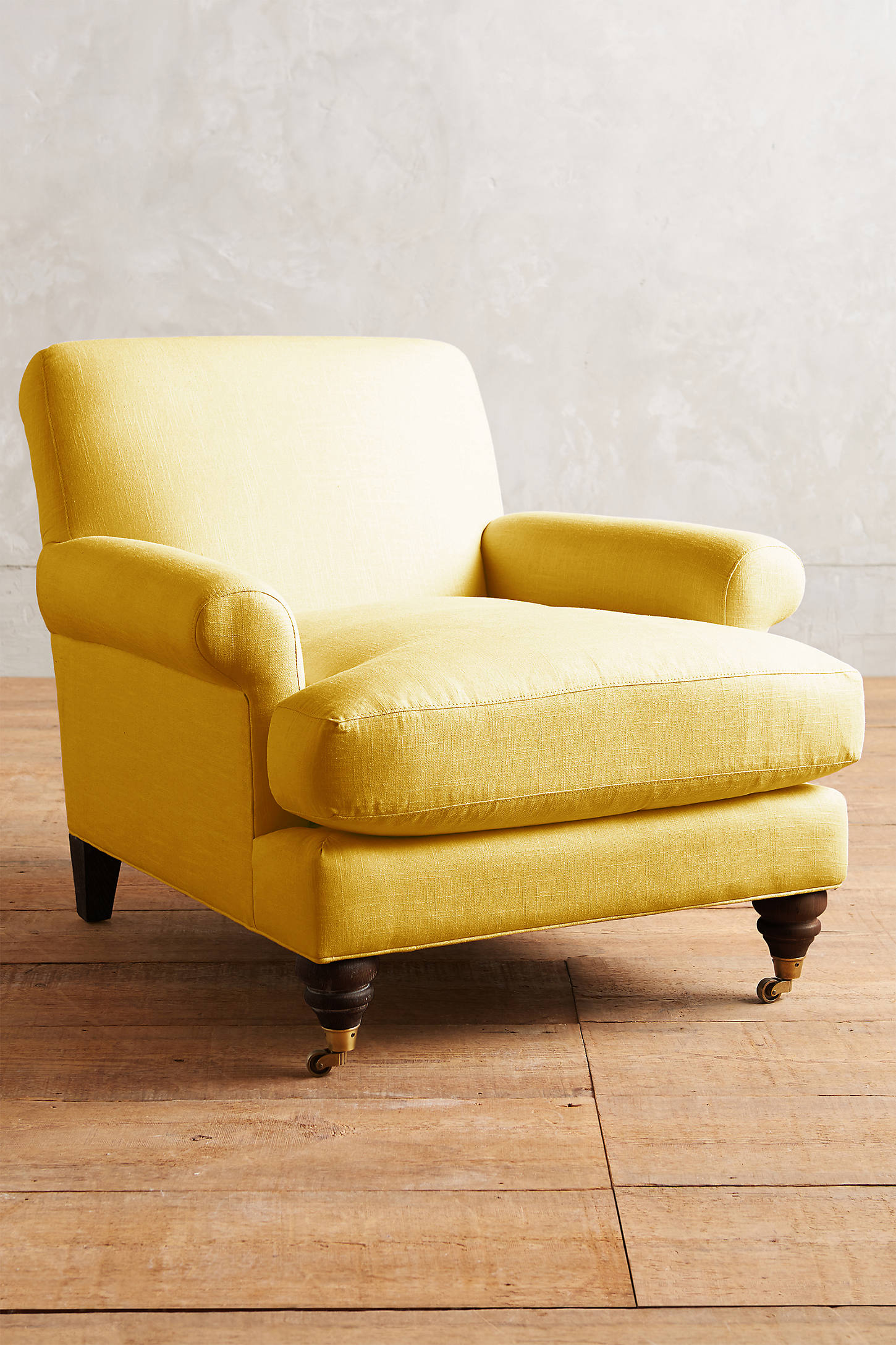Linen Willoughby Chair, Hickory