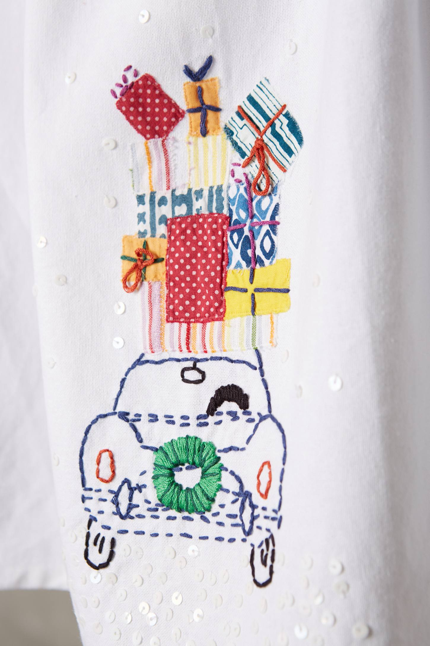 Hand-Embroidered Holiday Dishtowel