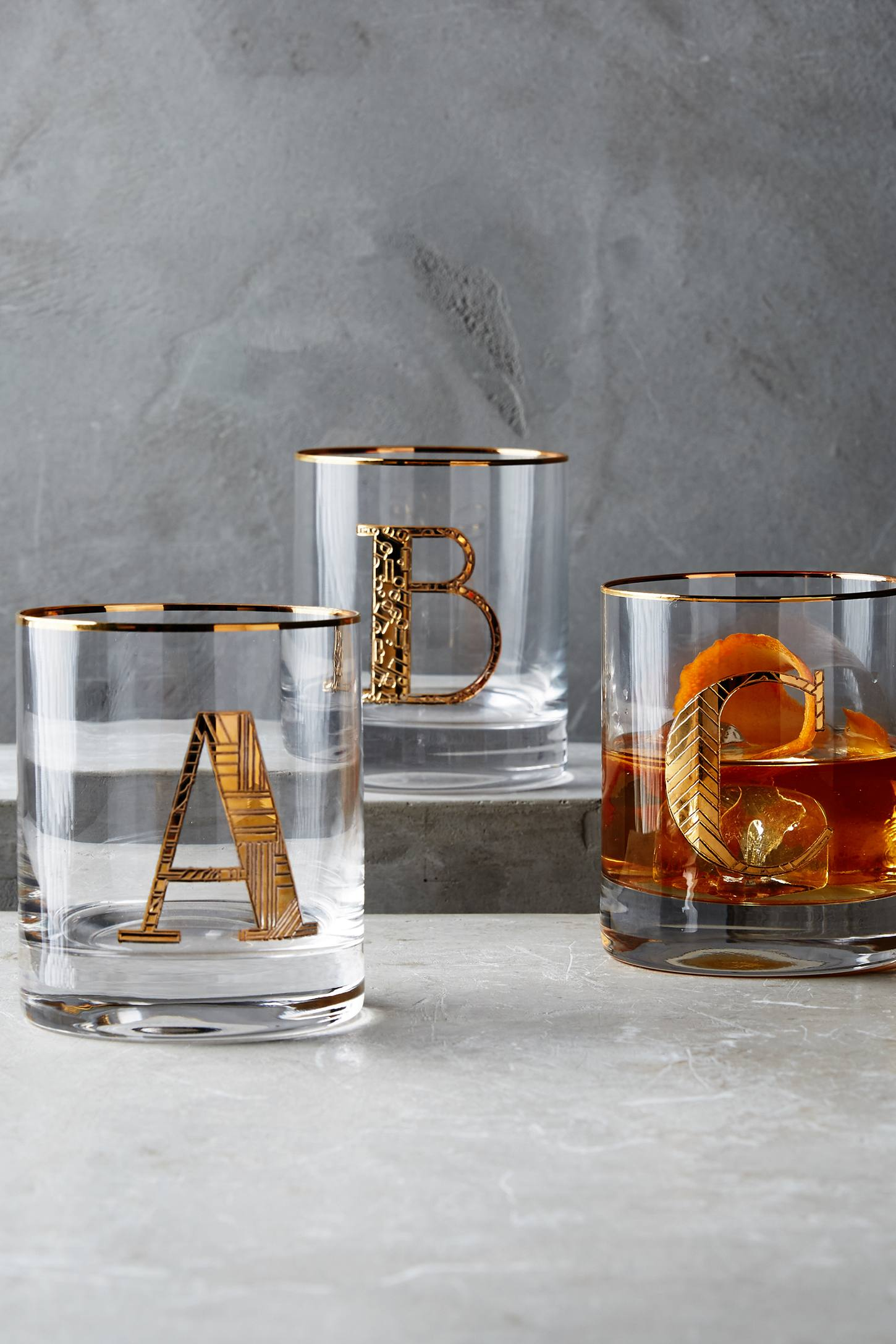 Gilded Monogram Glass