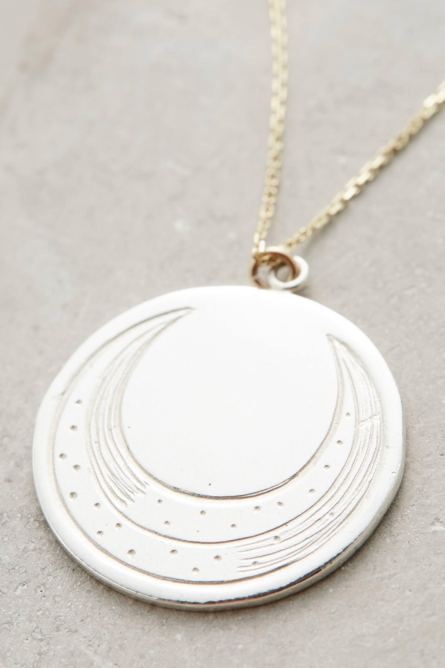 Engraved Luna Pendant Necklace