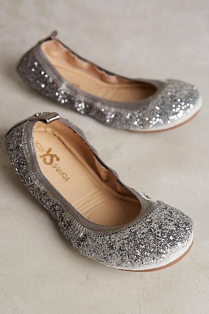 Yosi Samra silver glittered ballet flats