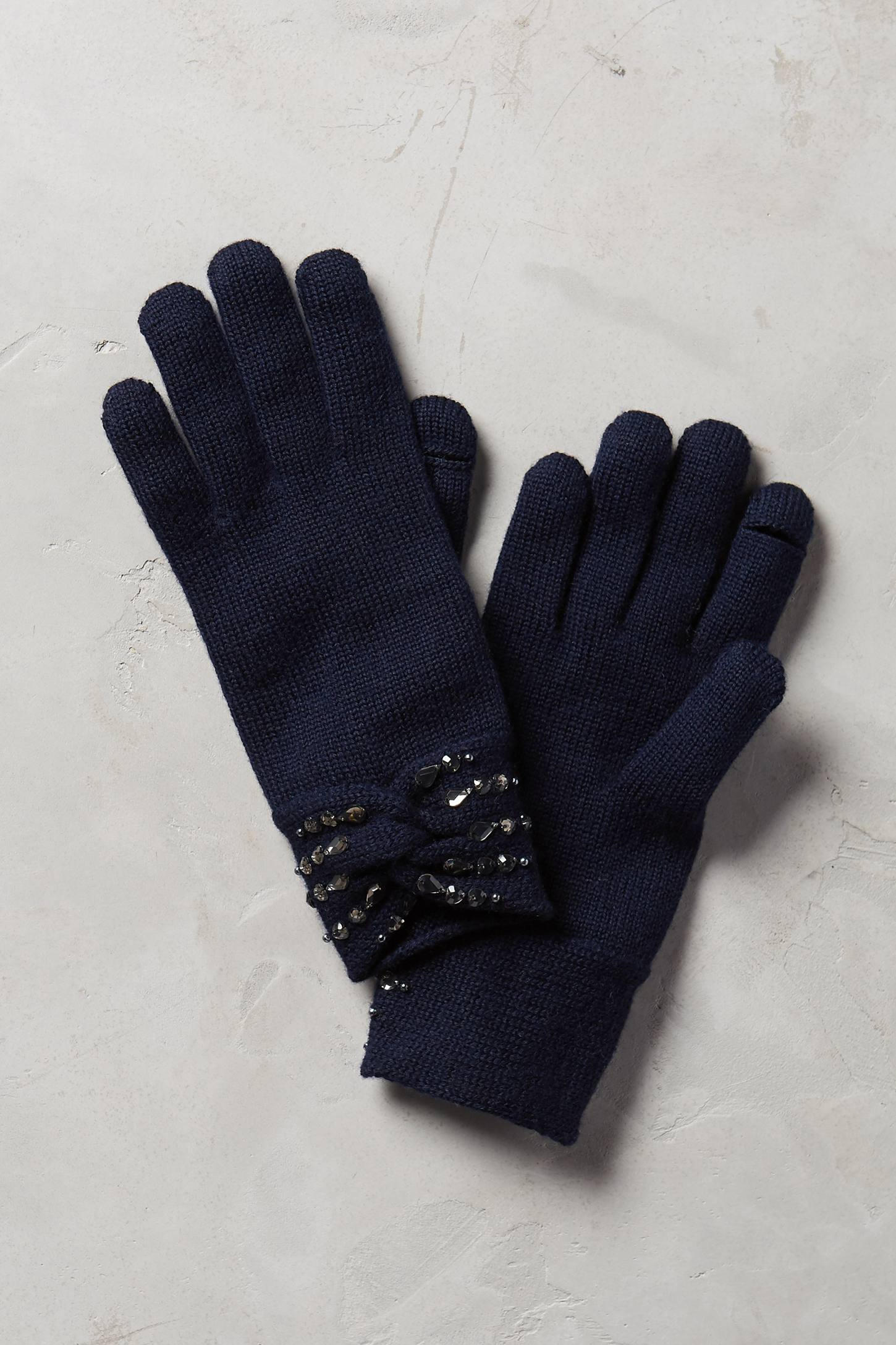 Jeweled Bow Gloves