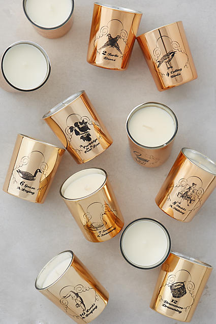 Beautiful 12 Days of Christmas candle set