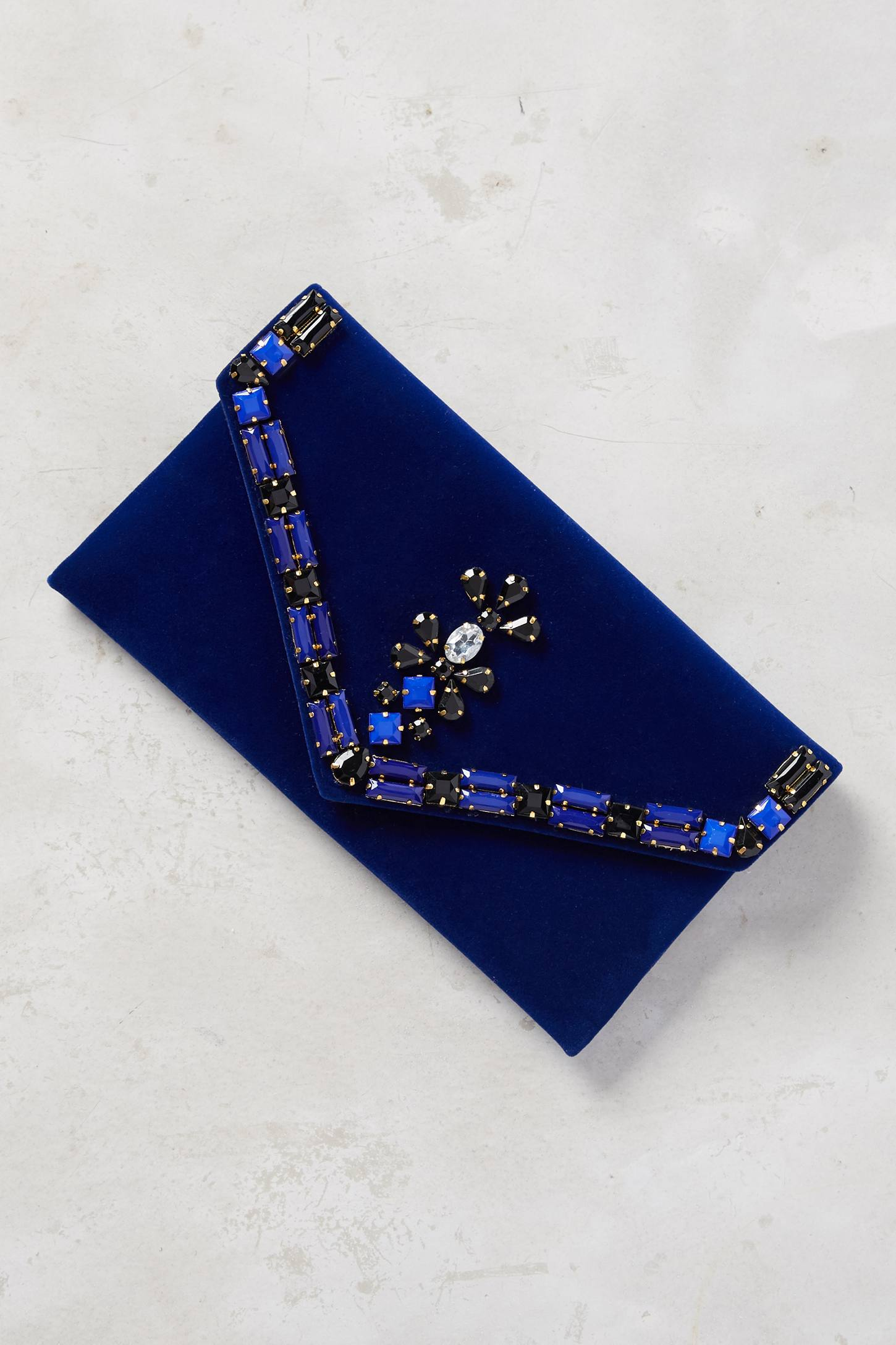 Embellished Velvet Envelope Pouch