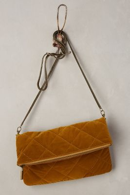 Downtown Quilted Velvet Clutch