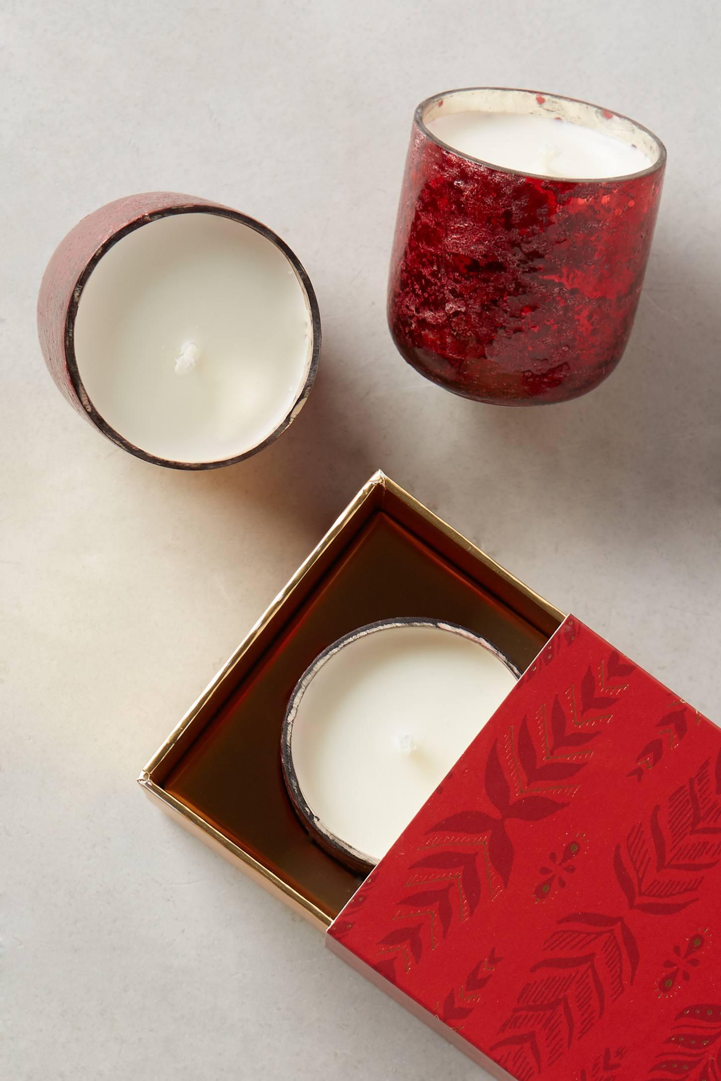 Sanded Mercury Glass Votive Candle Set