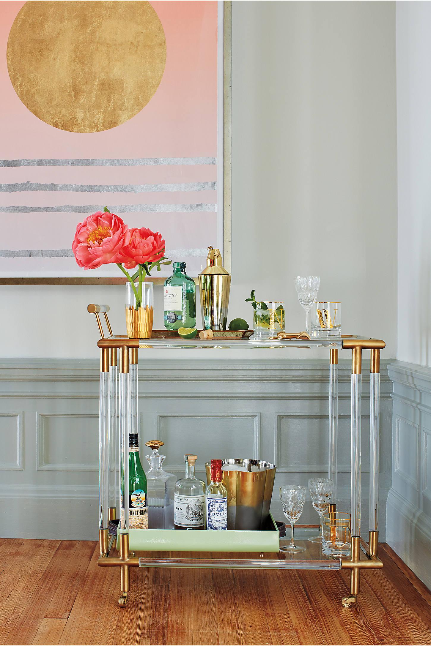 Oscarine Lucite Bar Cart, Rectangle