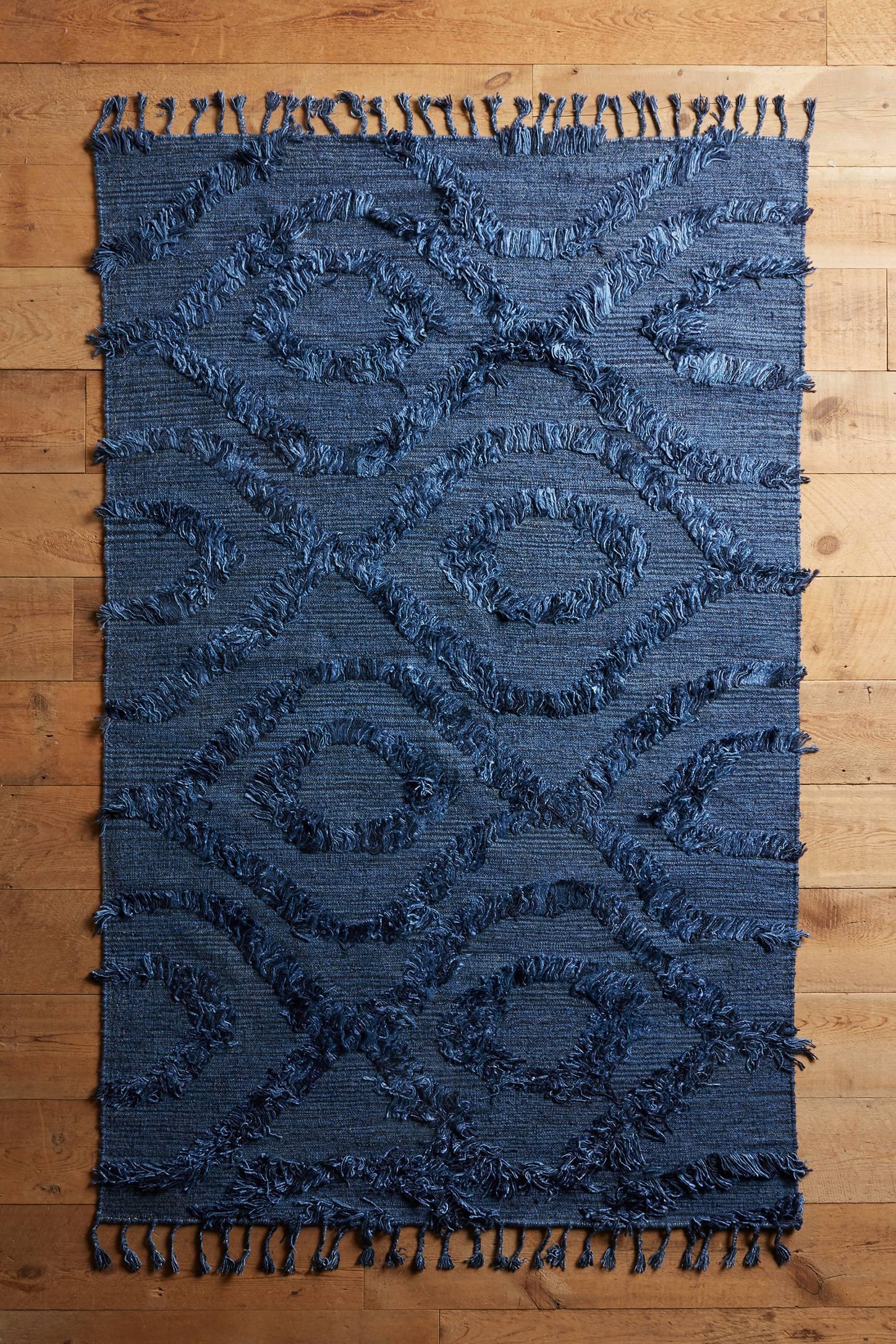Diamond Shag Flat-Woven Rug