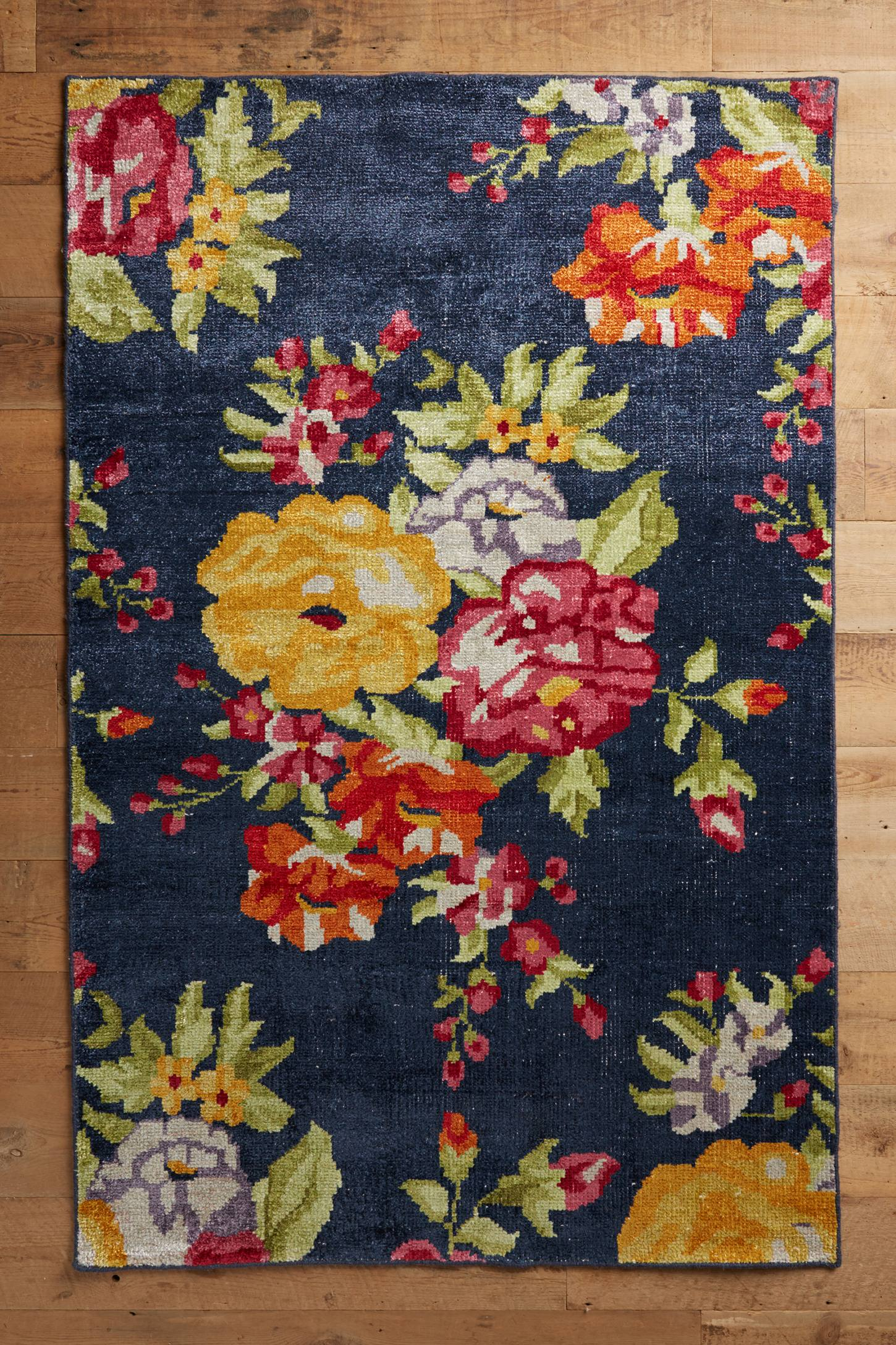Floral Needlepoint Hand-Knotted Rug