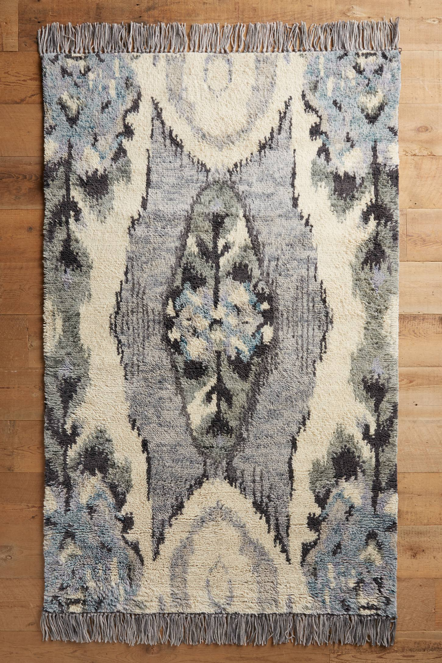 Stretched Ikat Hand-Knotted Rug