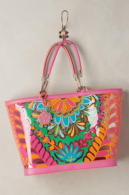 bright patterned plastic tote
