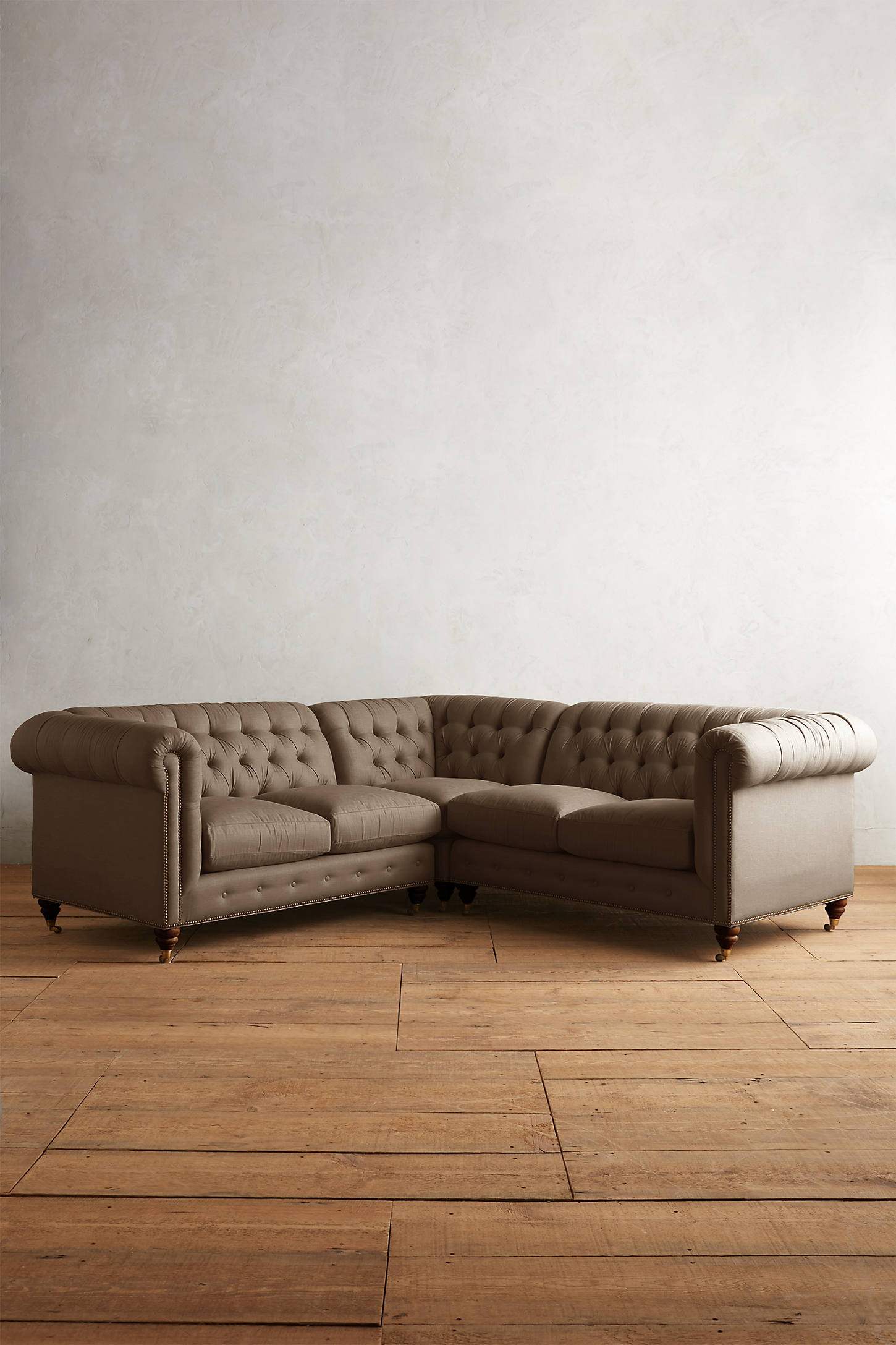 Belgian Linen Lyre Chesterfield Sectional, Hickory