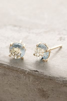 14k Gold Round Stud Earrings