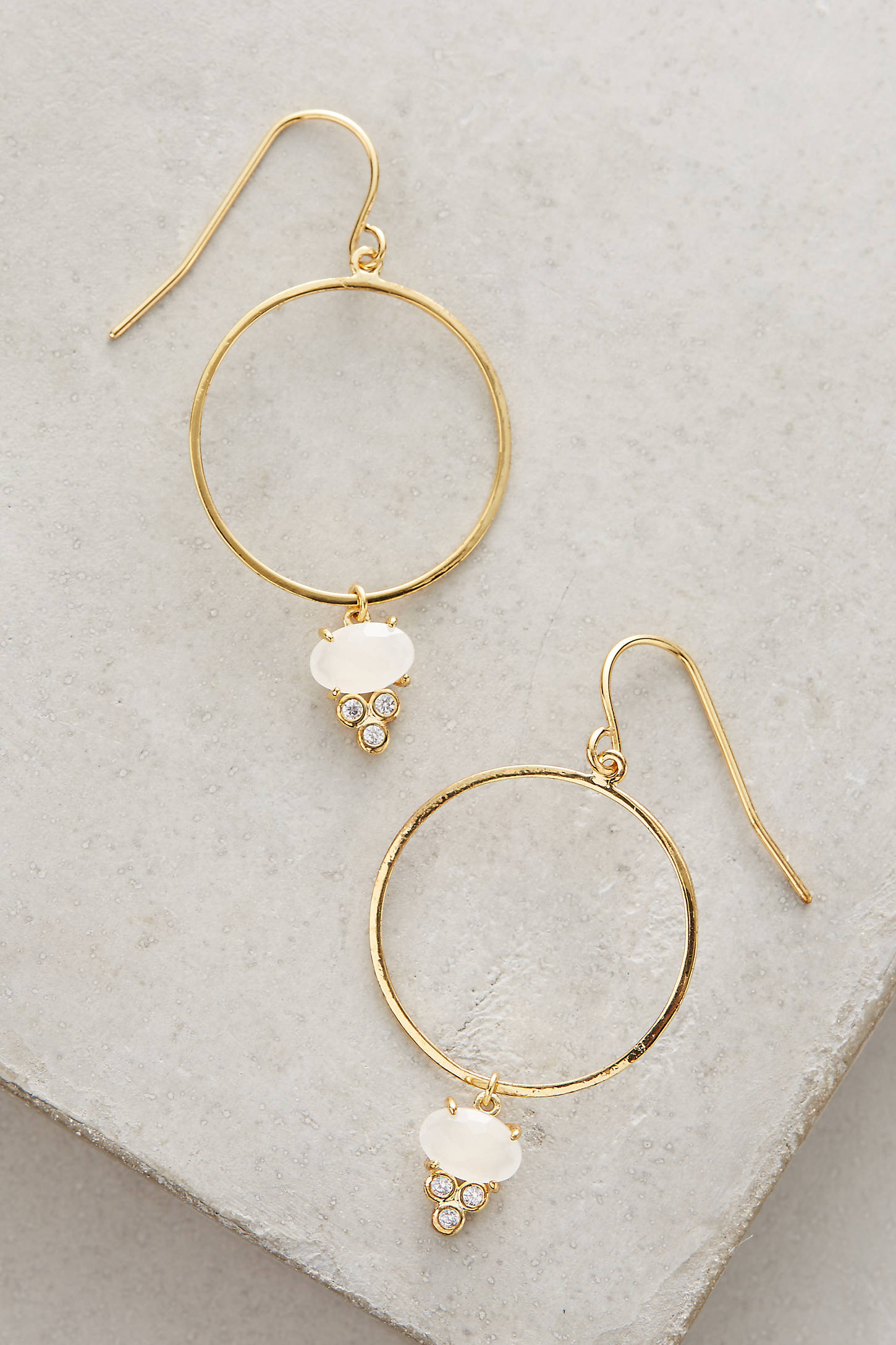 Stone-Drop Hoop Earrings
