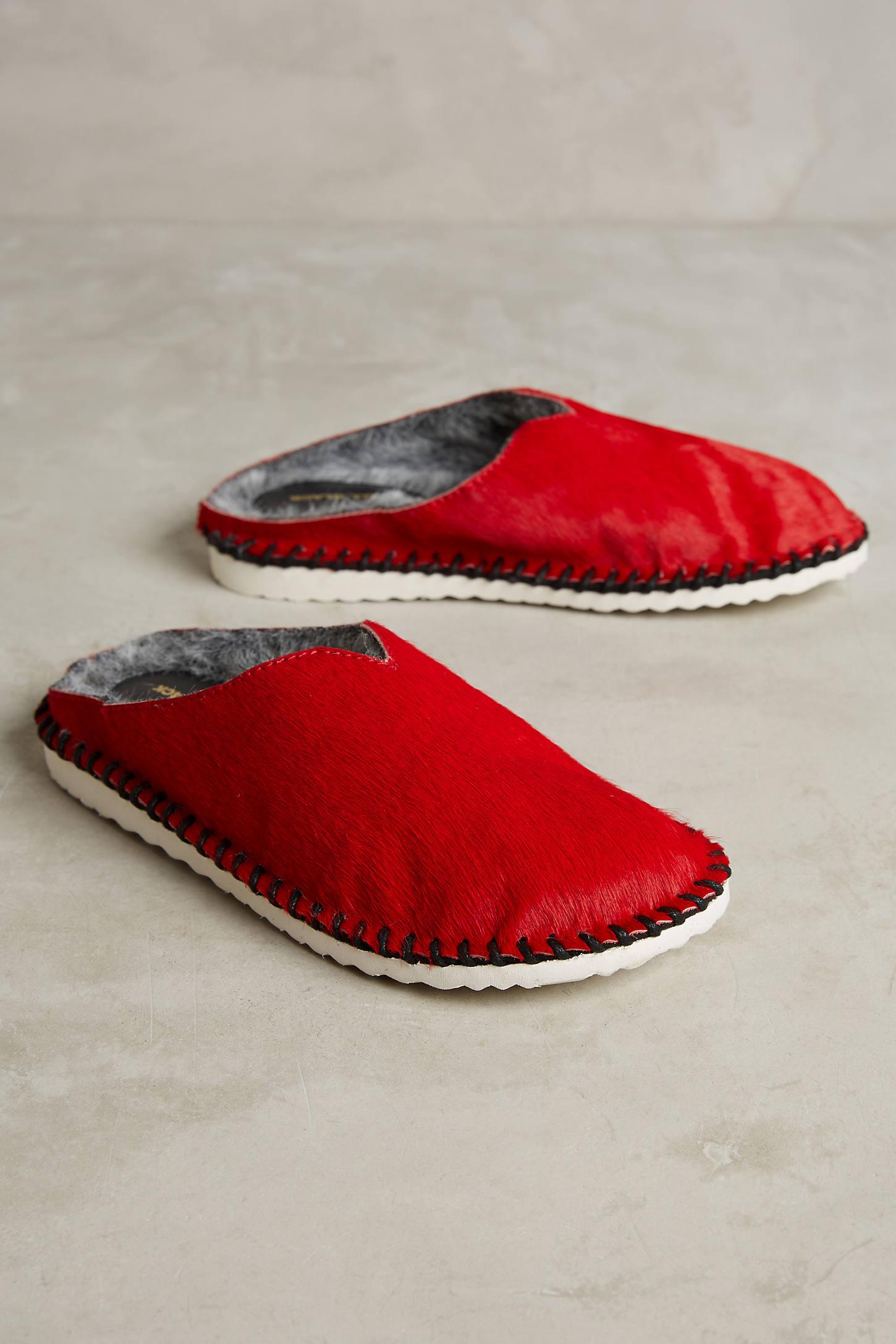 All Black Shearling-Lined Sneaker Slides