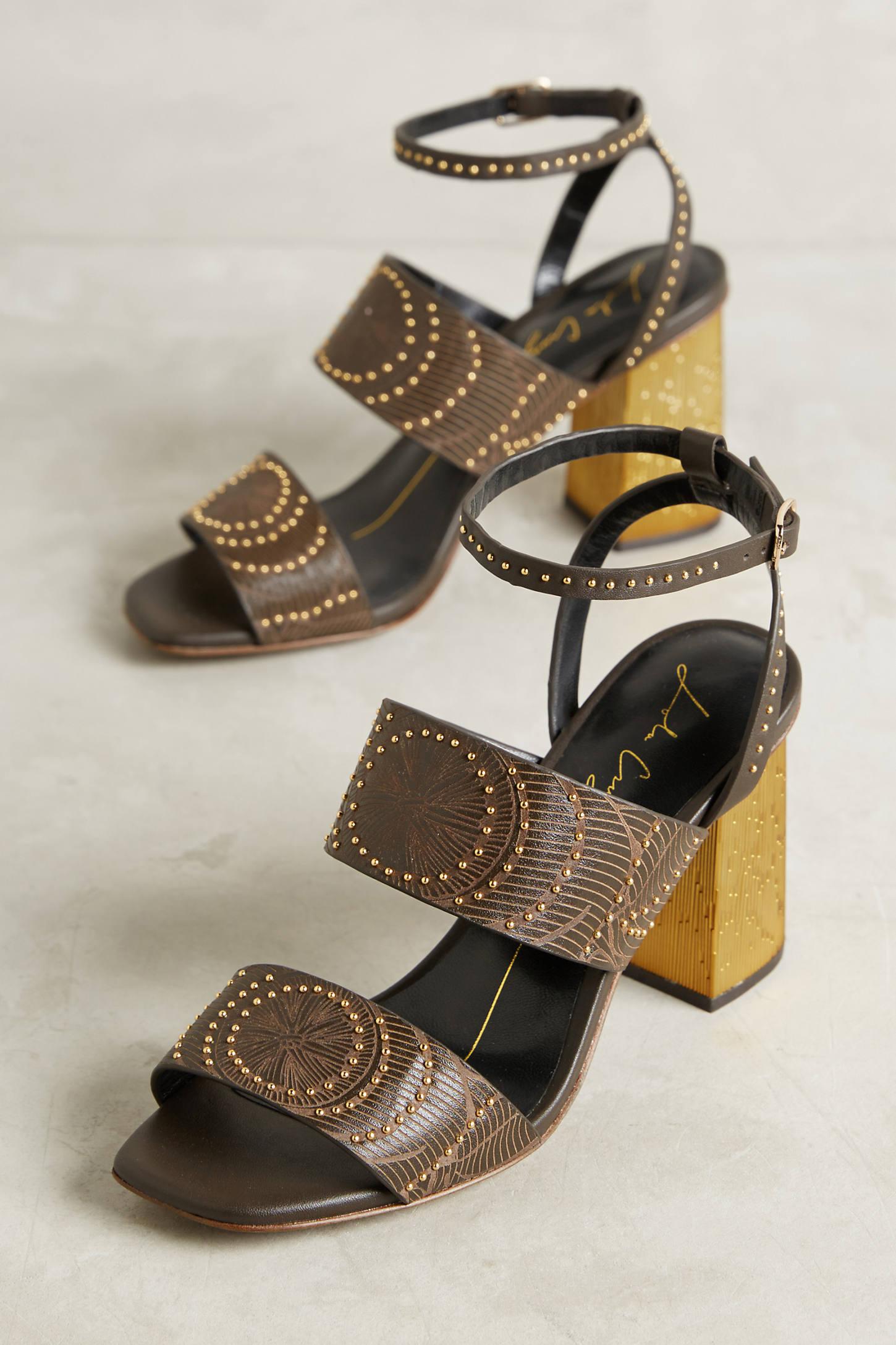 Lola Cruz Metallic Heeled Sandals
